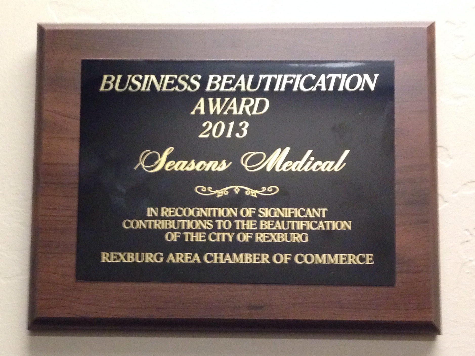 Seasons Medical Recognized with Business Beautification Award