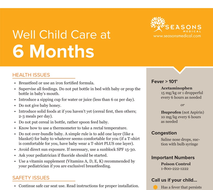Well Child Care at 6 Months