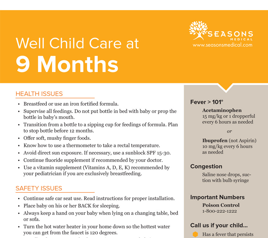 Well Child Care at 9 Months
